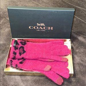 Coach Angora leopard ocelot gloves